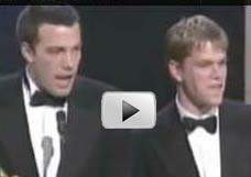 Matt Damon and Ben Affleck receiving their award