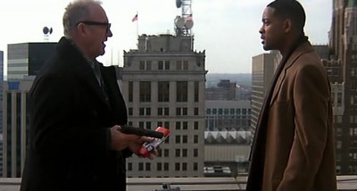 Brill and Robert Dean on the roof in this scene of Enemy of the State