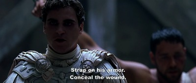 Gladiator - Commodus after slicing a knife into the General Maximus back