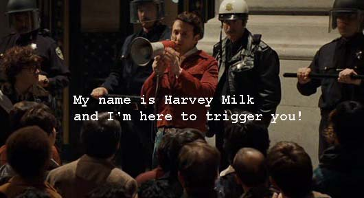 Harvey Milk from the screenplay Milk about the trigger movie dialogue technique
